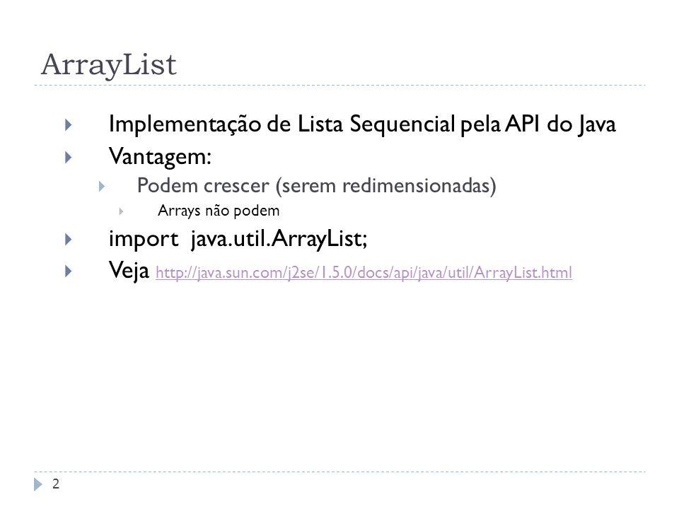 ArrayList Implementação de Lista Sequencial pela API do Java Vantagem: