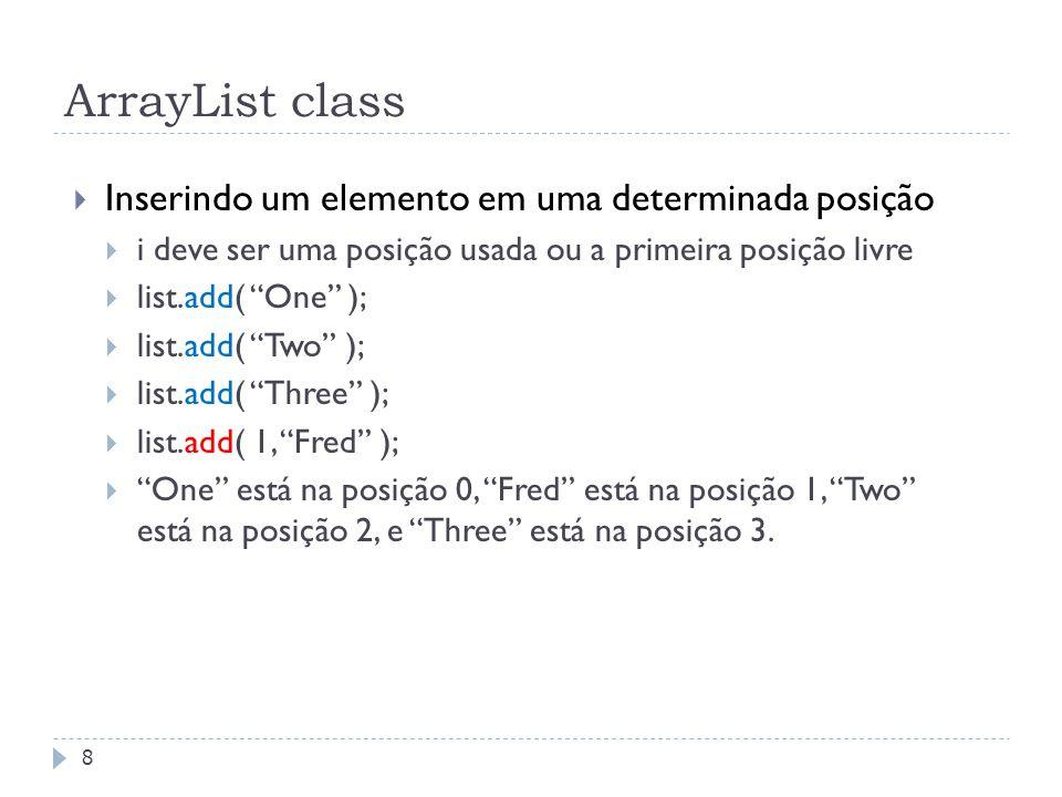 ArrayList class Inserindo um elemento em uma determinada posição