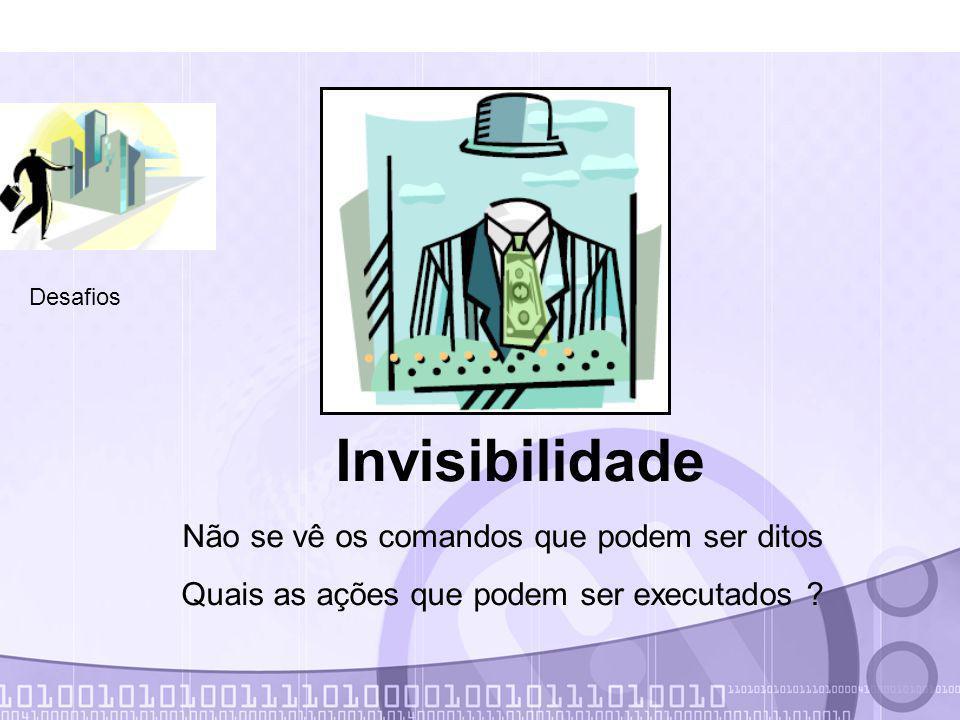 Invisibilidade Não se vê os comandos que podem ser ditos