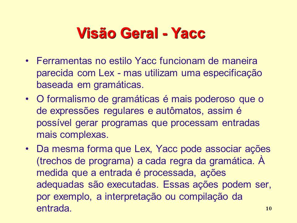 Visão Geral - Yacc Ferramentas no estilo Yacc funcionam de maneira parecida com Lex - mas utilizam uma especificação baseada em gramáticas.