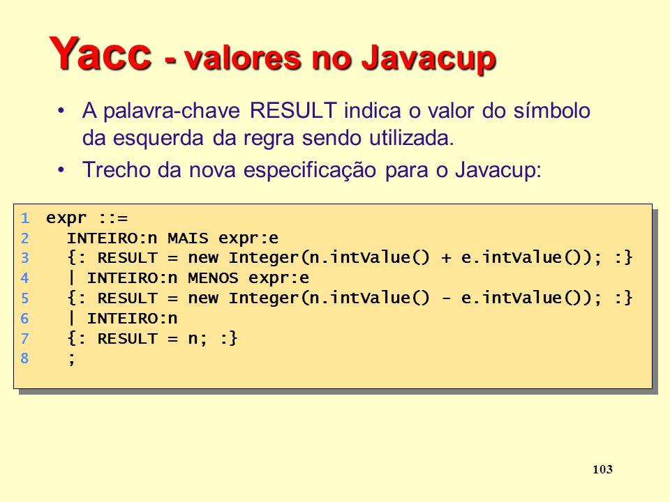 Yacc - valores no Javacup