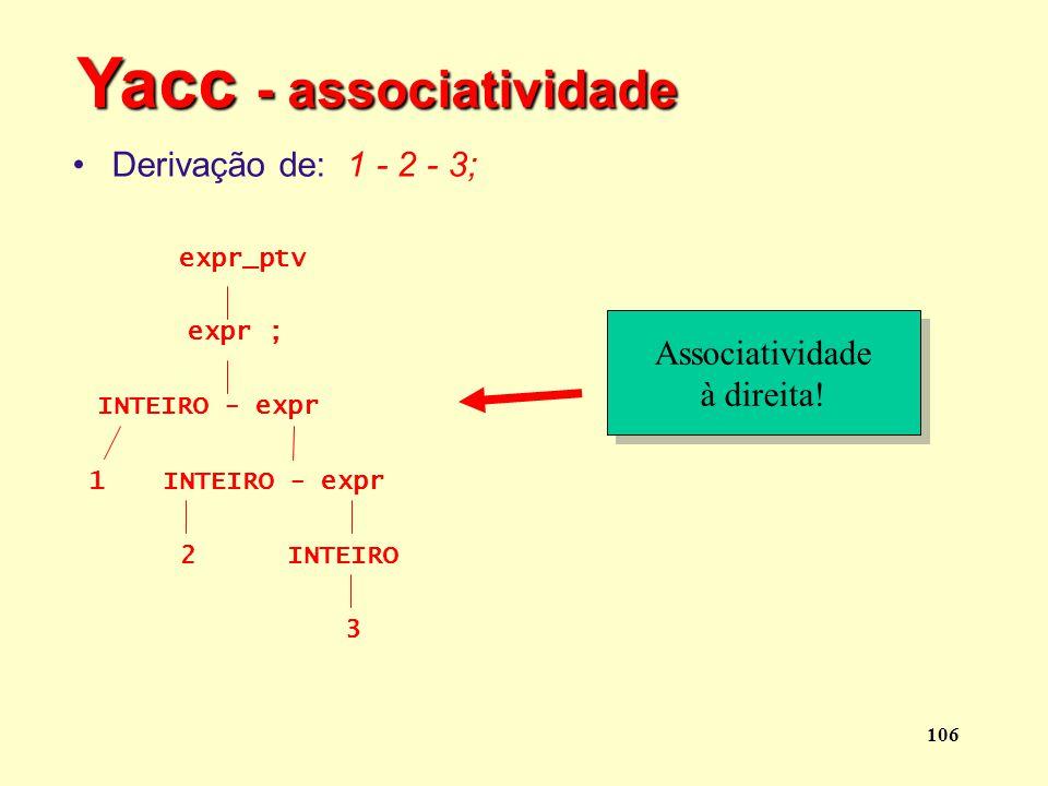 Yacc - associatividade
