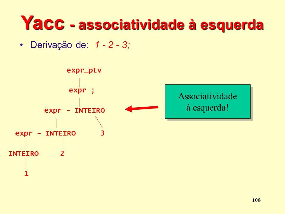 Yacc - associatividade à esquerda
