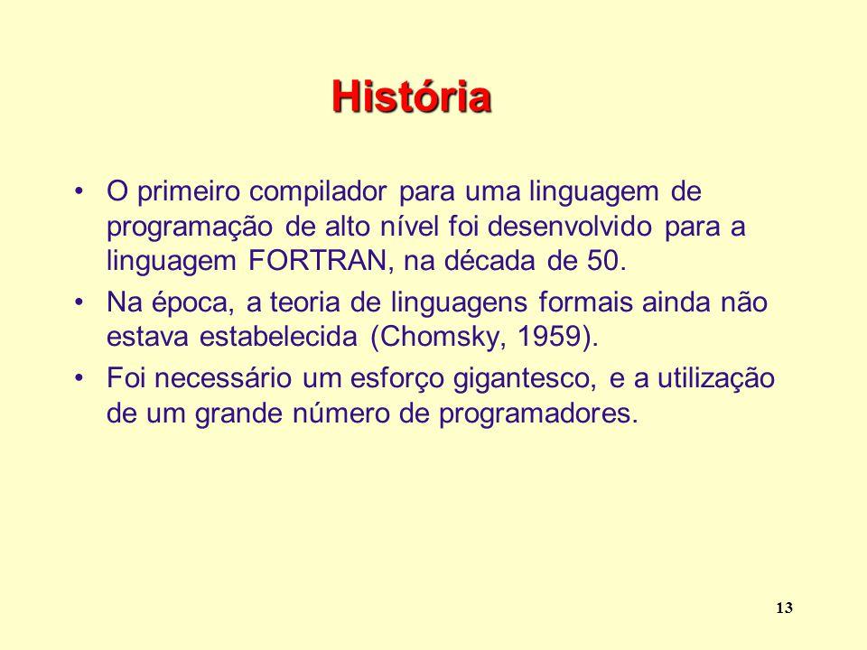 História O primeiro compilador para uma linguagem de programação de alto nível foi desenvolvido para a linguagem FORTRAN, na década de 50.