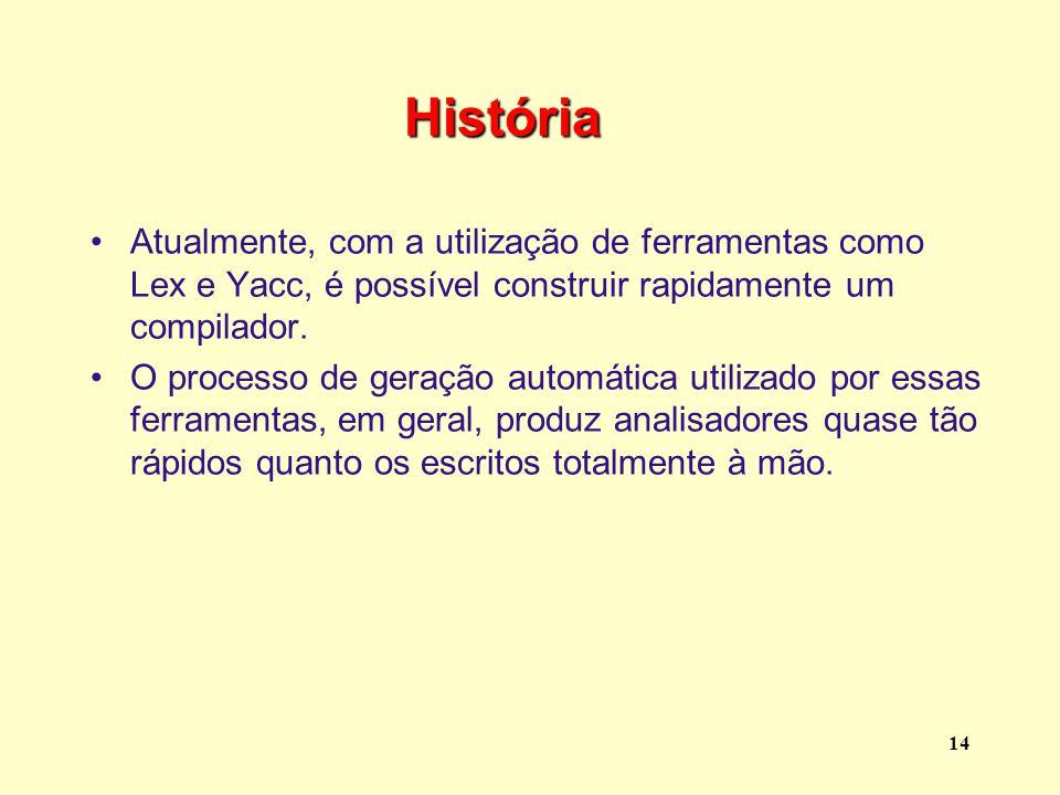 História Atualmente, com a utilização de ferramentas como Lex e Yacc, é possível construir rapidamente um compilador.