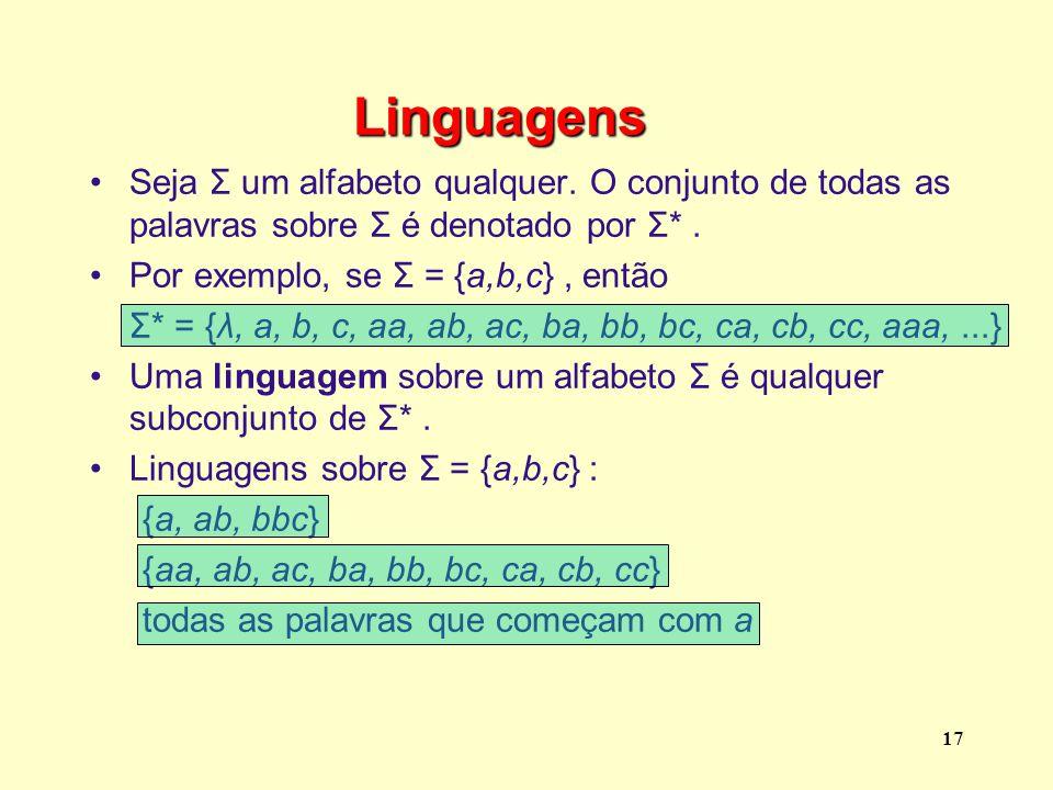 Linguagens Seja Σ um alfabeto qualquer. O conjunto de todas as palavras sobre Σ é denotado por Σ* .