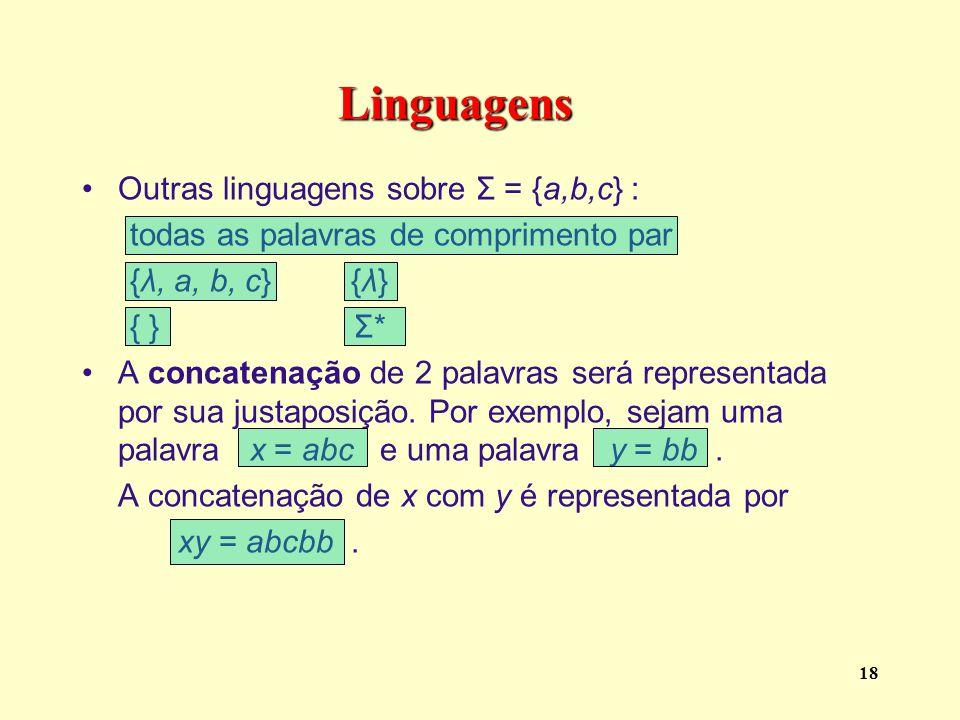 Linguagens Outras linguagens sobre Σ = {a,b,c} :