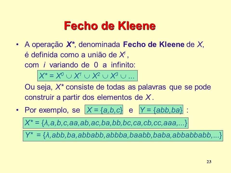 Fecho de Kleene A operação X*, denominada Fecho de Kleene de X,