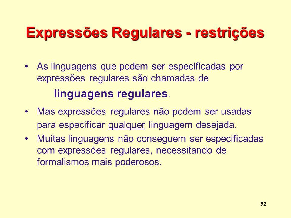 Expressões Regulares - restrições