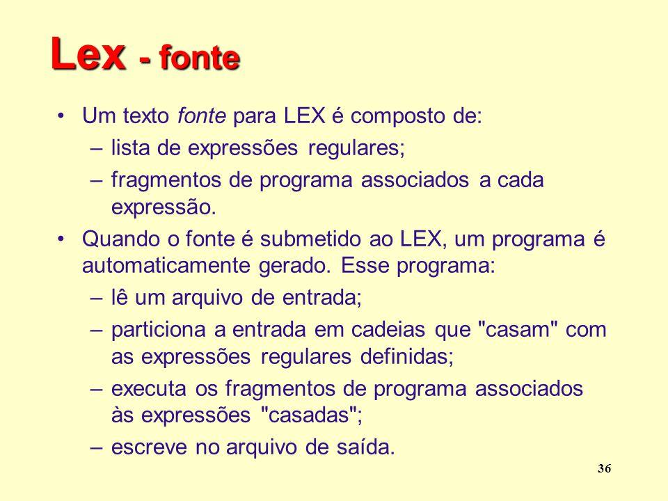 Lex - fonte Um texto fonte para LEX é composto de: