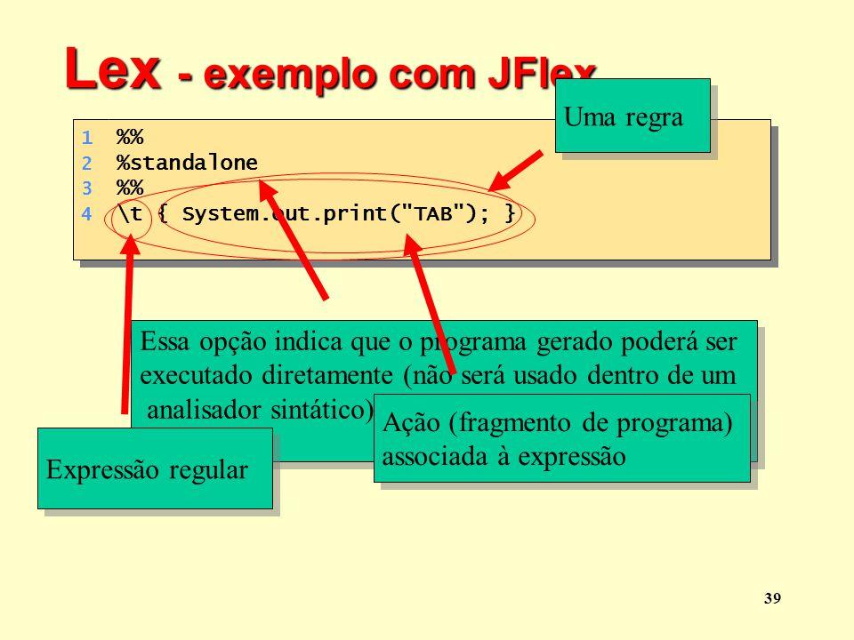 Lex - exemplo com JFlex Uma regra