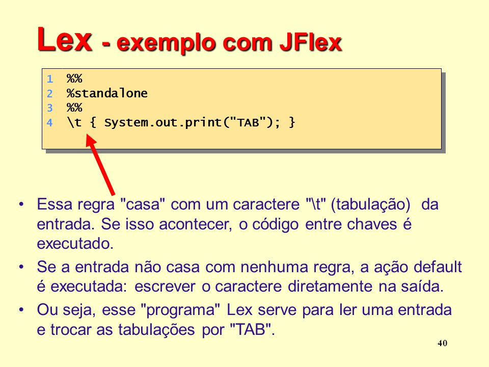 Lex - exemplo com JFlex 1 . 2 . 3 . 4 . %% %standalone. \t { System.out.print( TAB ); }
