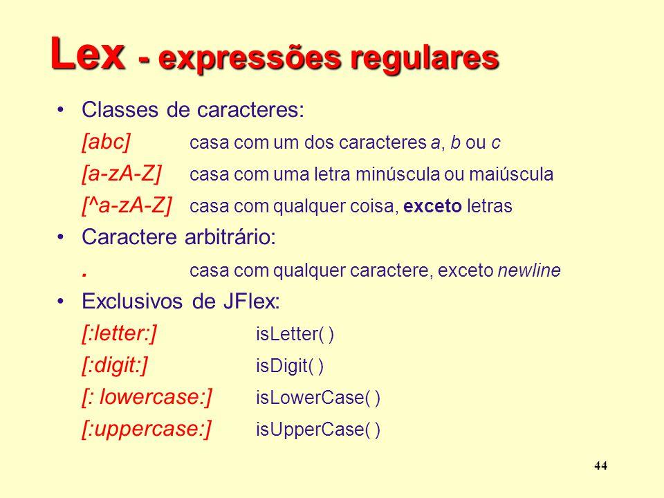 Lex - expressões regulares