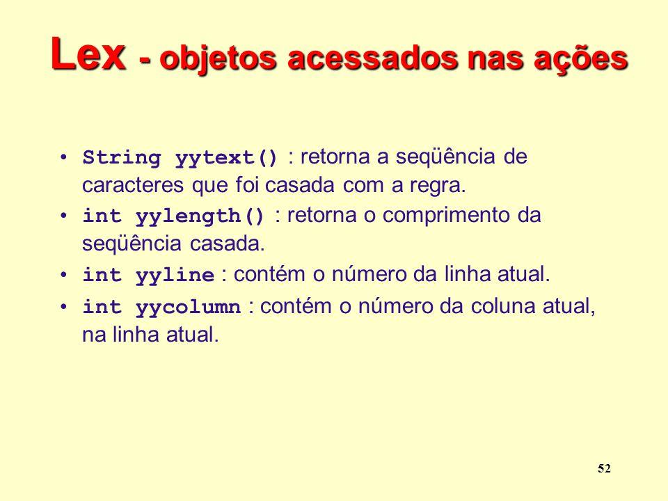 Lex - objetos acessados nas ações
