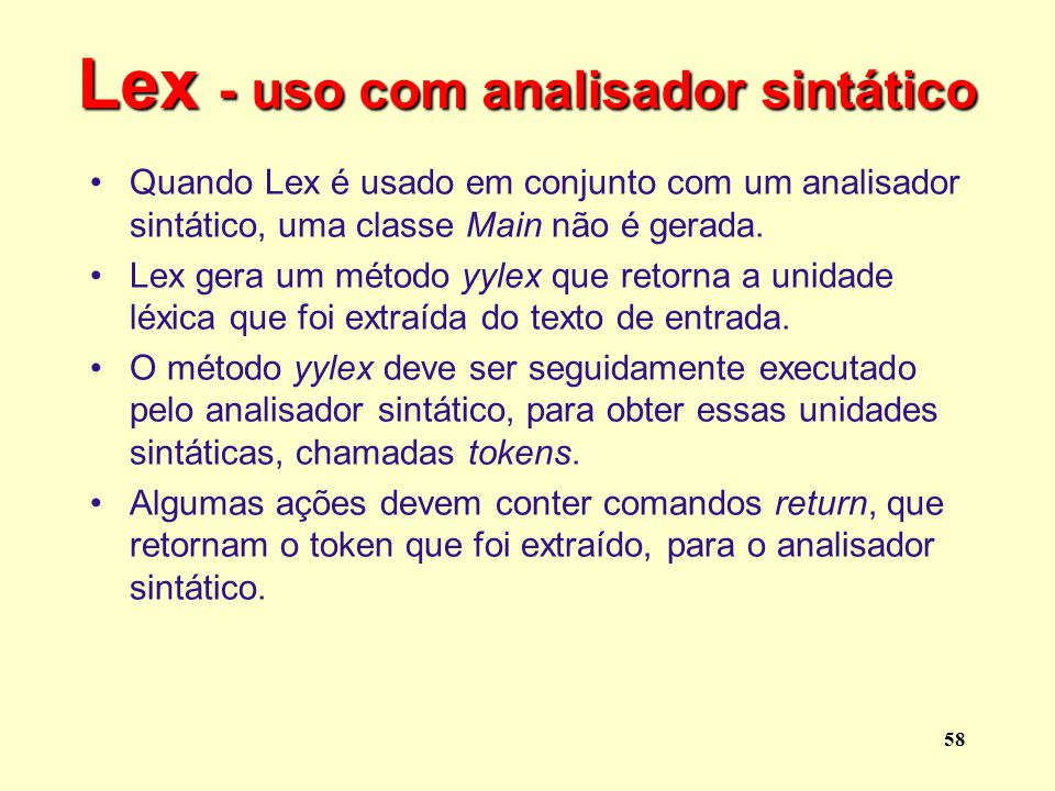 Lex - uso com analisador sintático