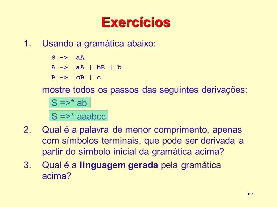Exercícios Usando a gramática abaixo: S -> aA S =>* ab