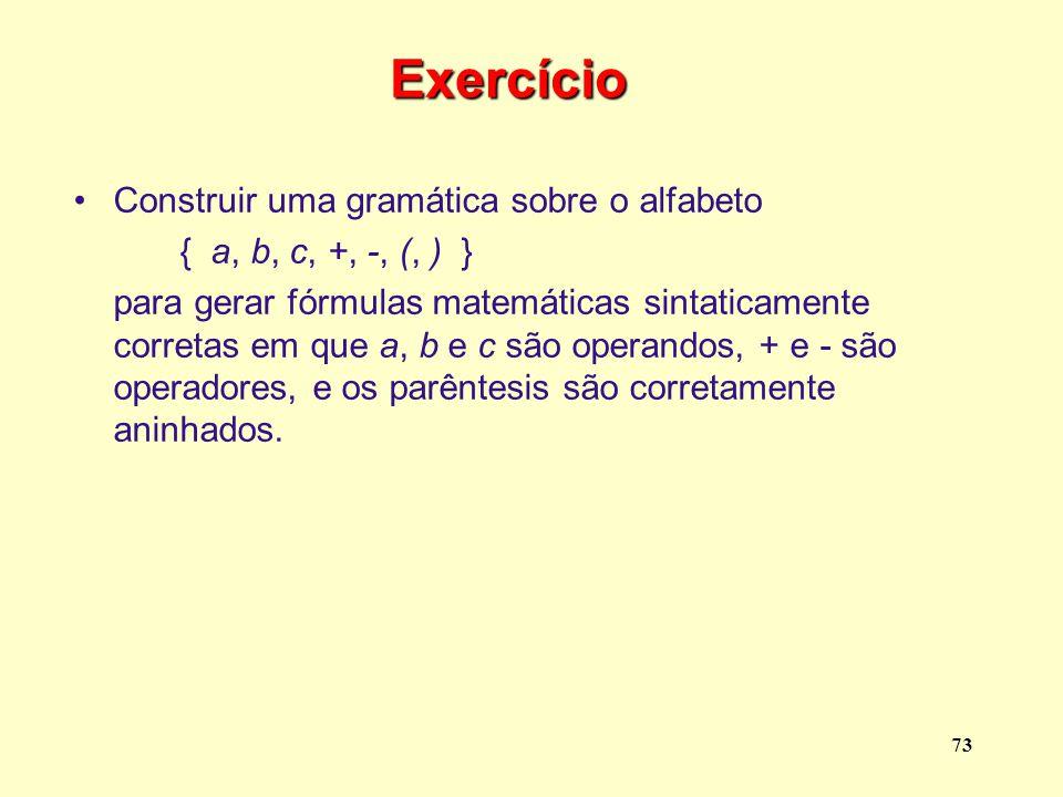 Exercício Construir uma gramática sobre o alfabeto