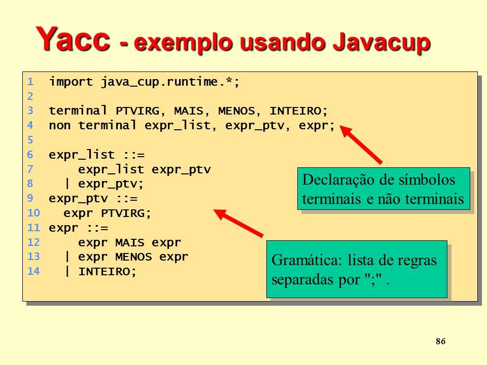 Yacc - exemplo usando Javacup