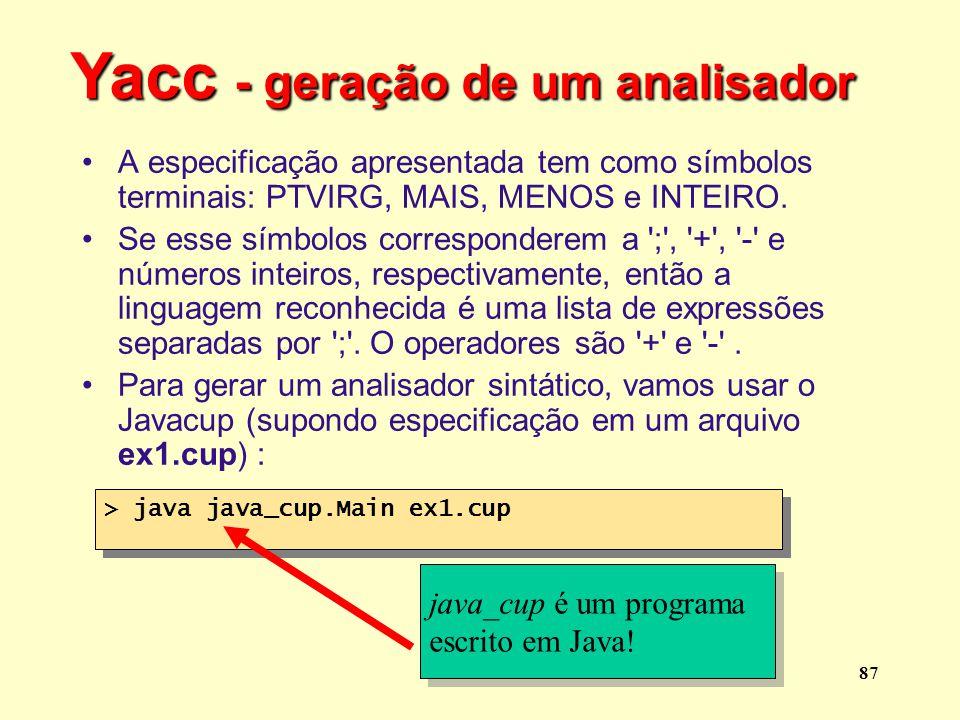 Yacc - geração de um analisador