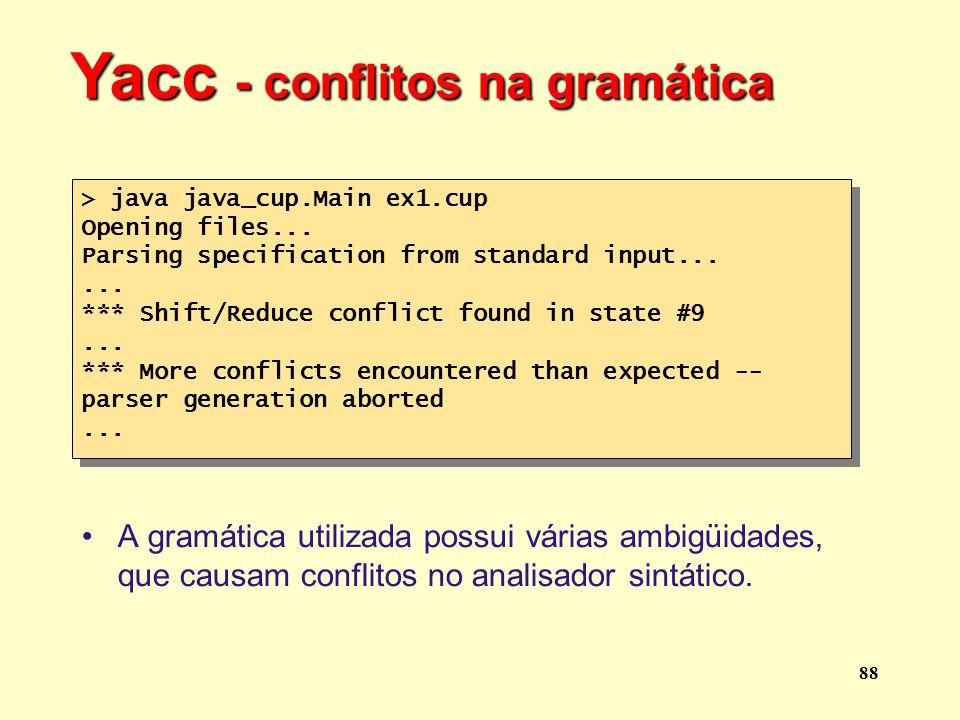 Yacc - conflitos na gramática