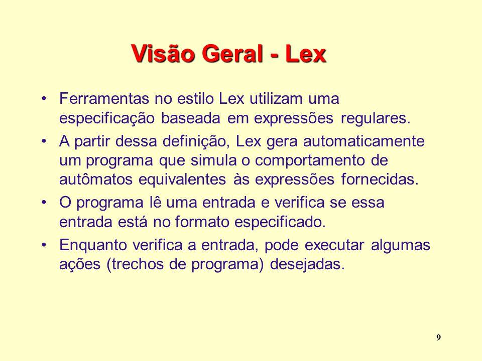 Visão Geral - Lex Ferramentas no estilo Lex utilizam uma especificação baseada em expressões regulares.
