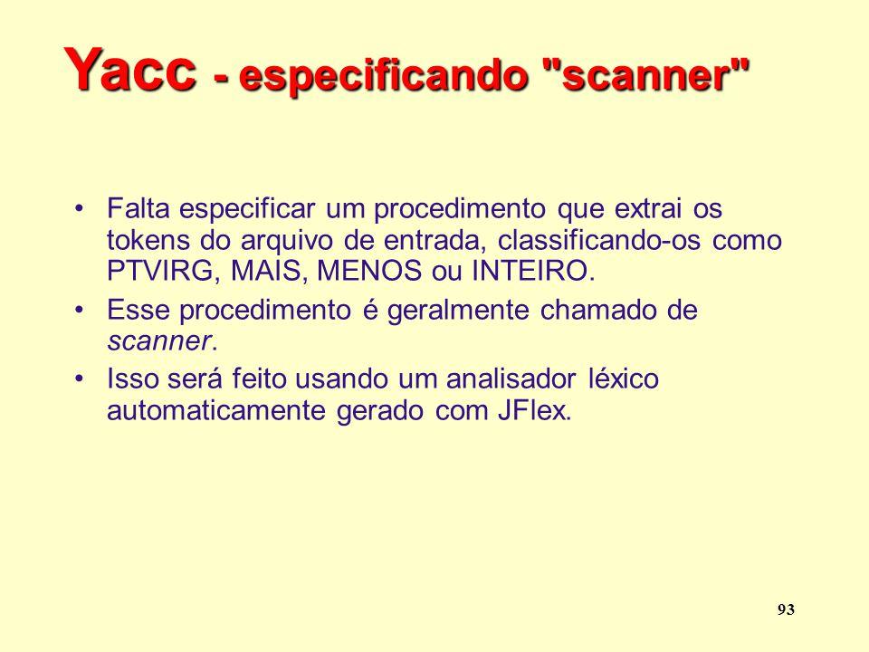 Yacc - especificando scanner