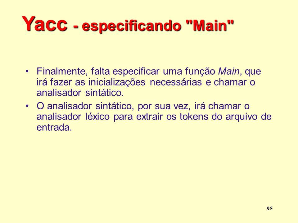 Yacc - especificando Main