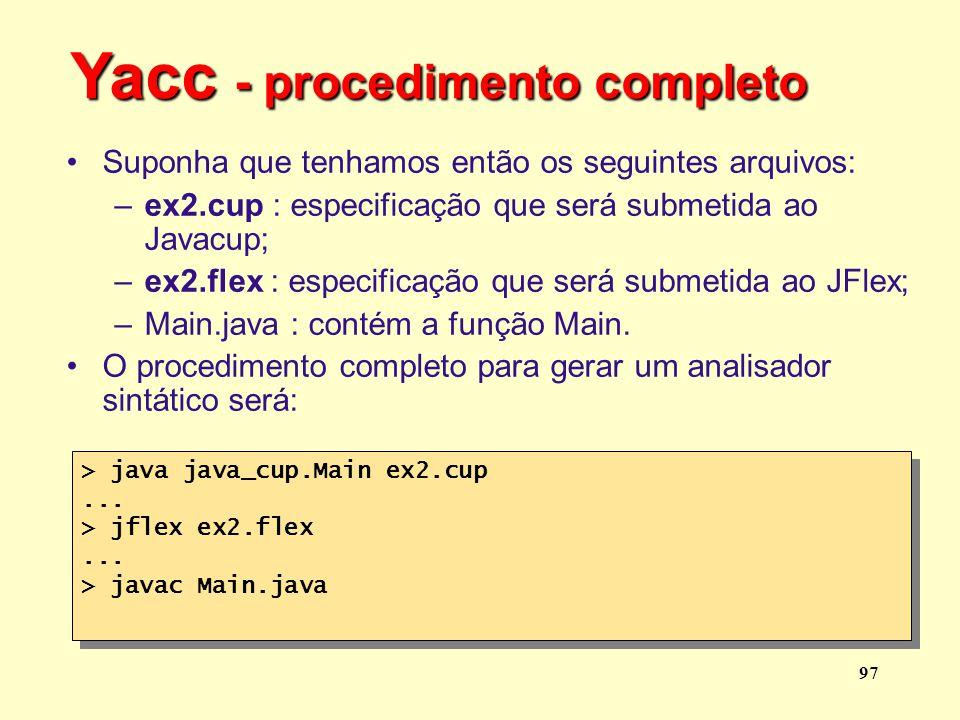 Yacc - procedimento completo
