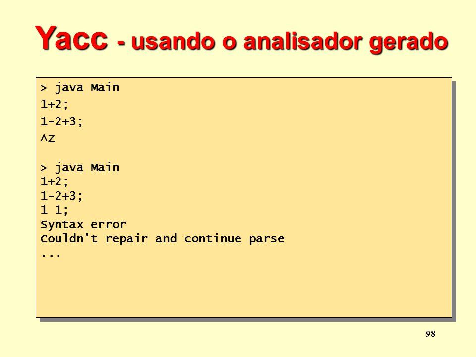 Yacc - usando o analisador gerado