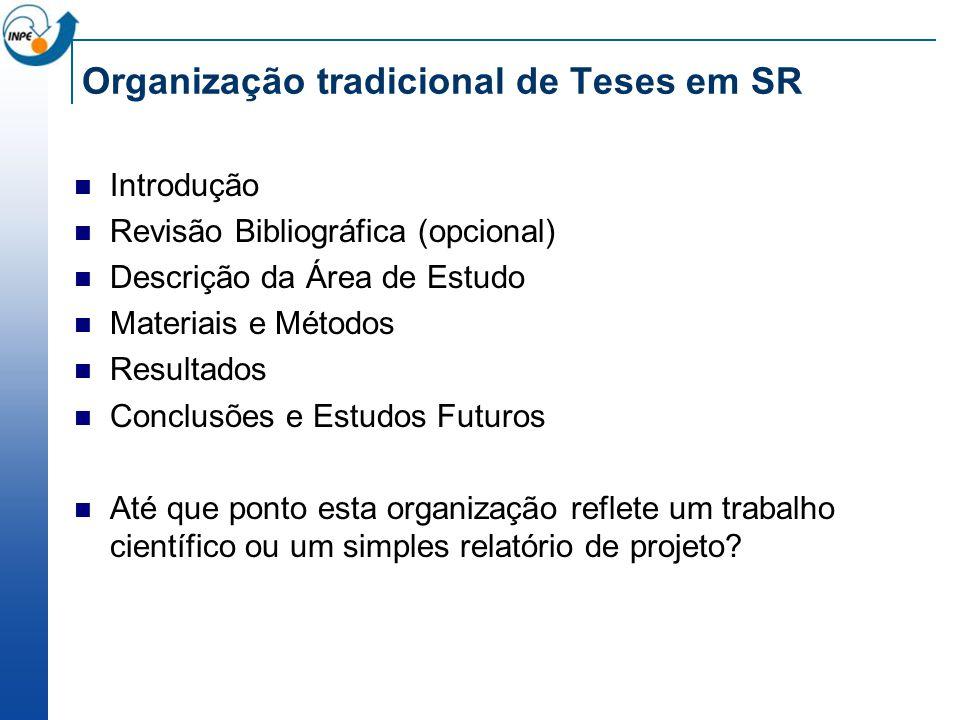 Organização tradicional de Teses em SR