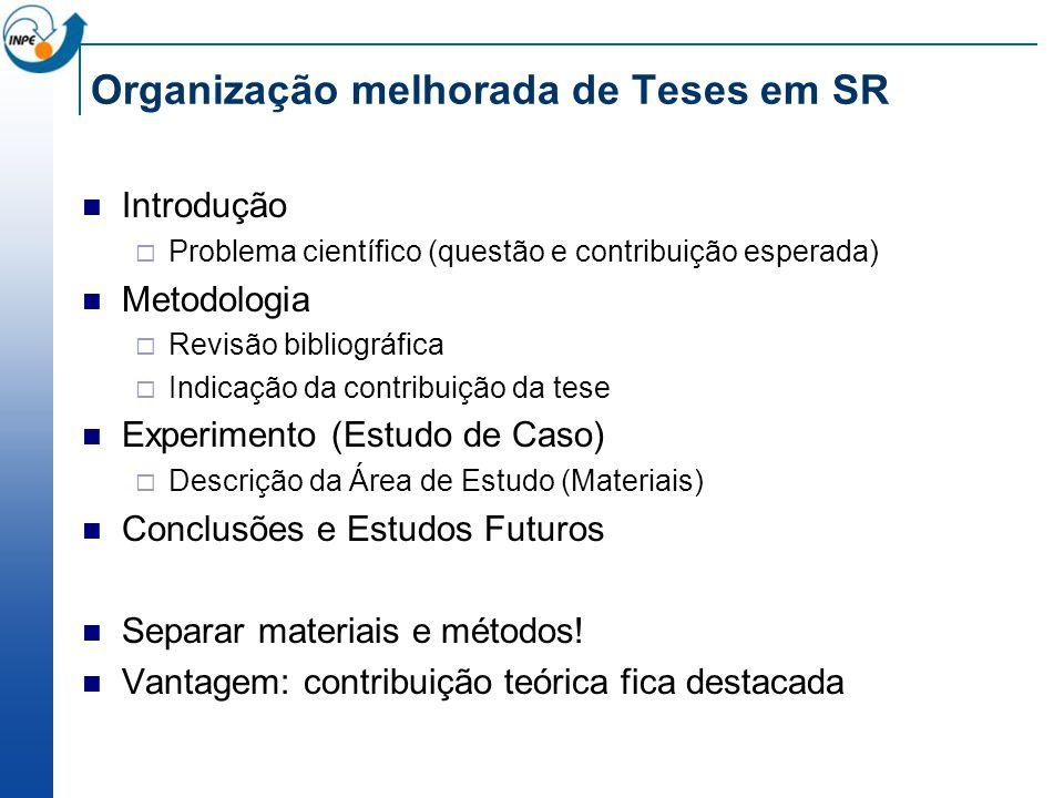 Organização melhorada de Teses em SR