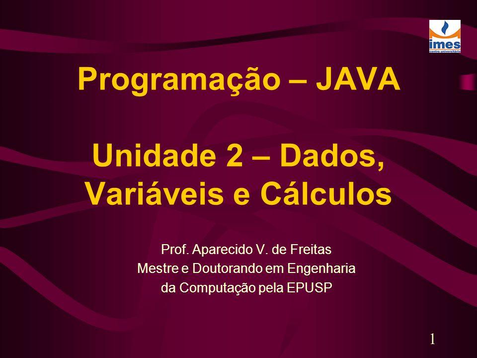 Programação – JAVA Unidade 2 – Dados, Variáveis e Cálculos