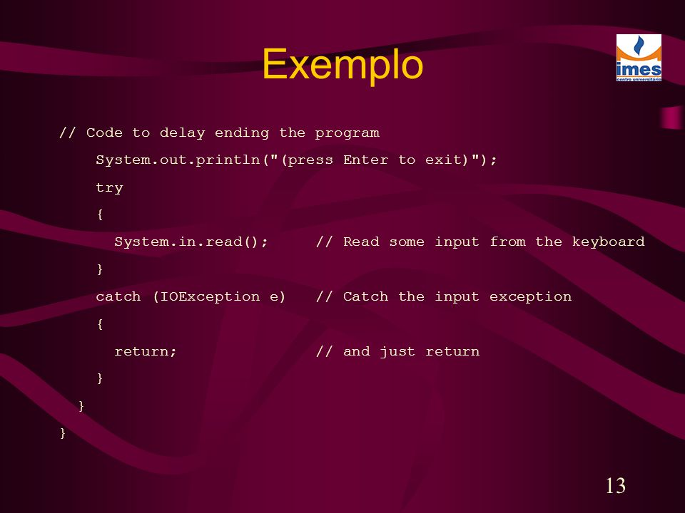 Exemplo // Code to delay ending the program
