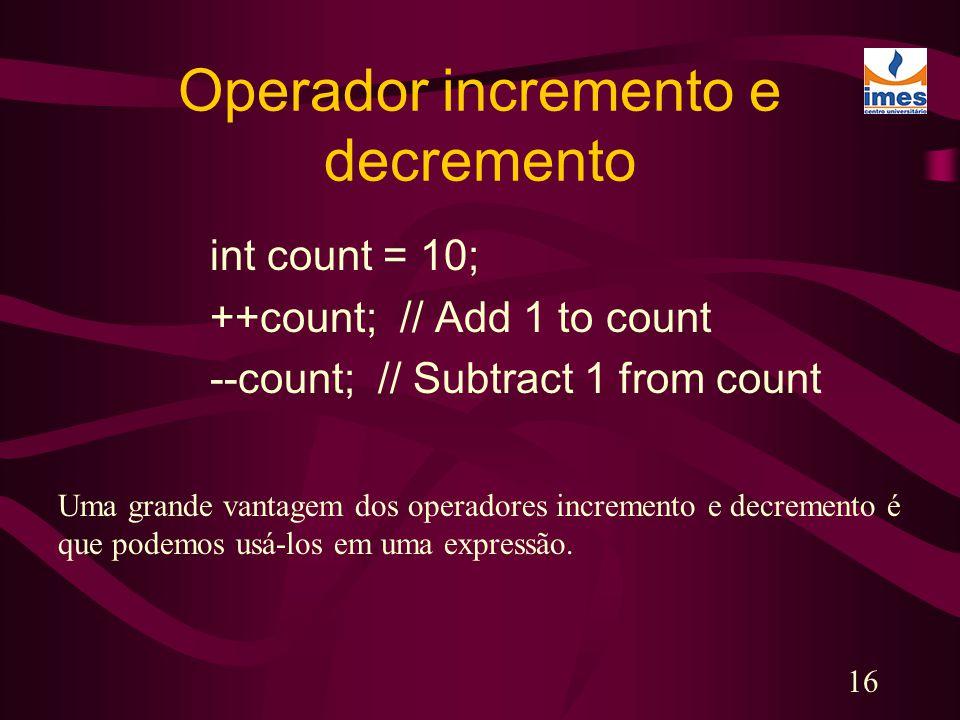 Operador incremento e decremento