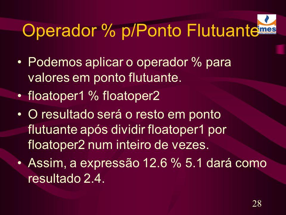 Operador % p/Ponto Flutuante