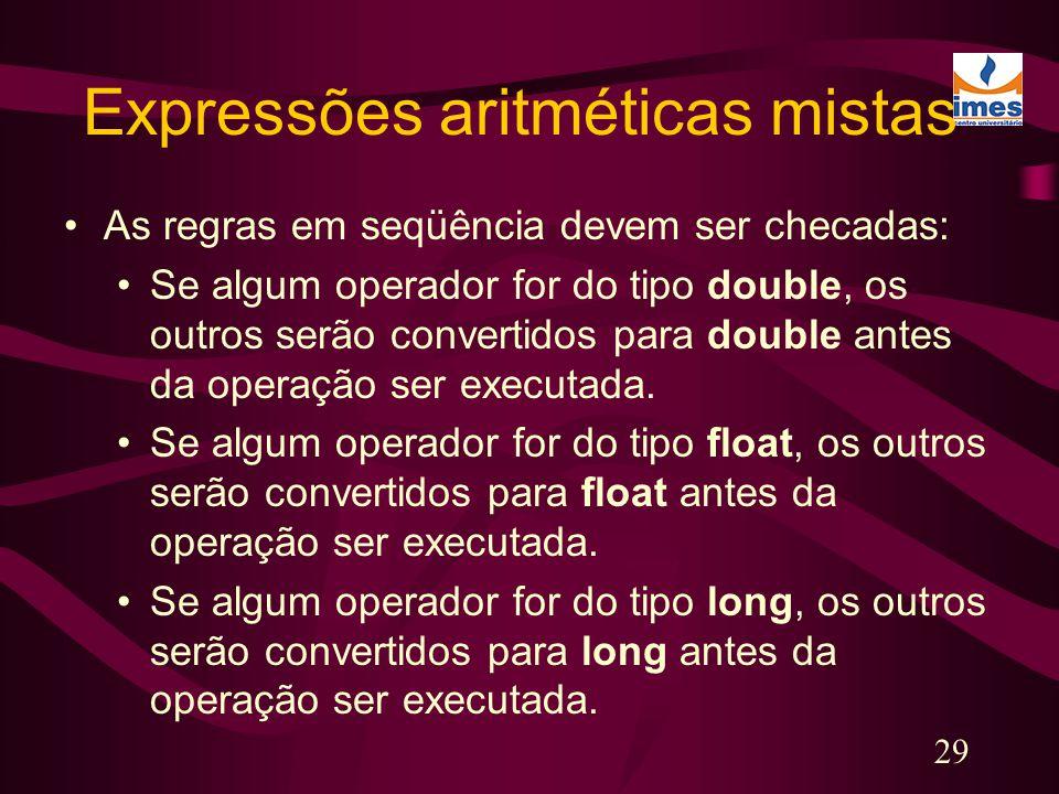Expressões aritméticas mistas