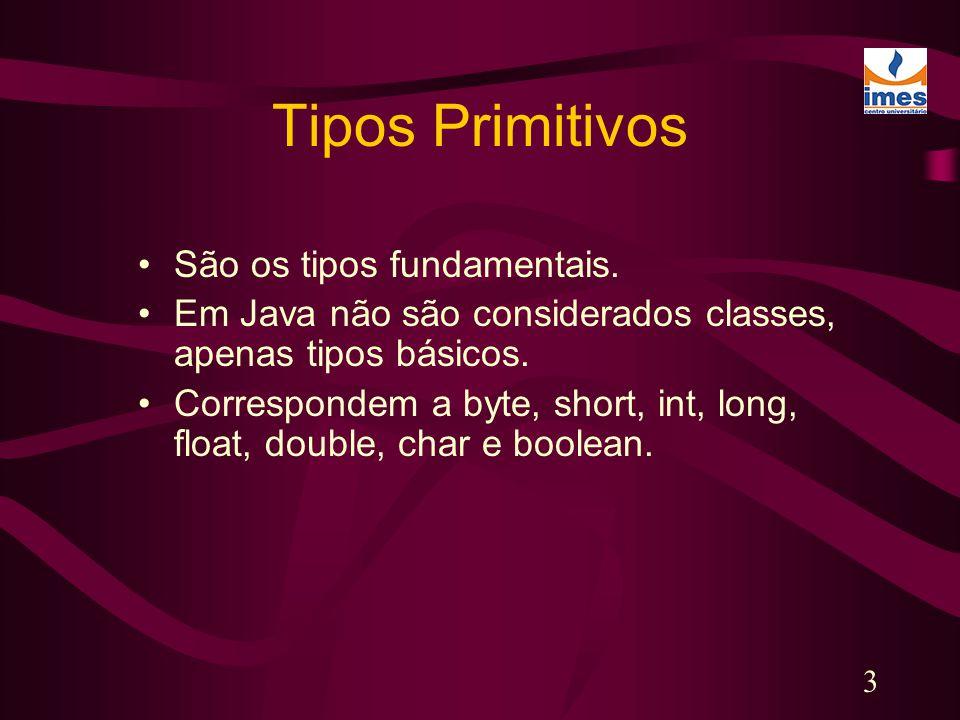 Tipos Primitivos São os tipos fundamentais.