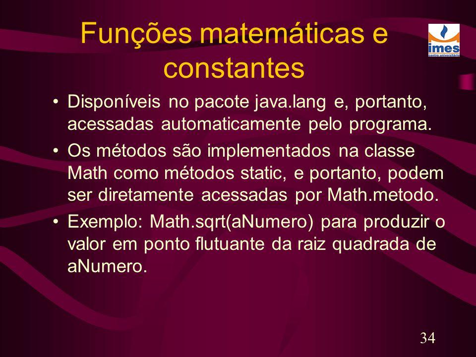 Funções matemáticas e constantes