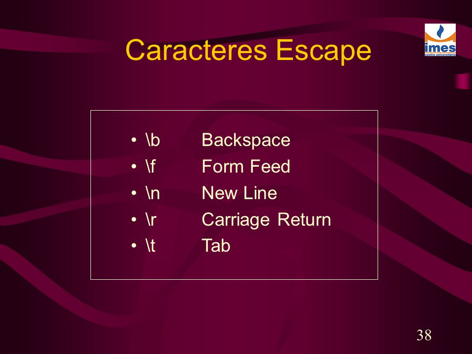 Caracteres Escape \b Backspace \f Form Feed \n New Line