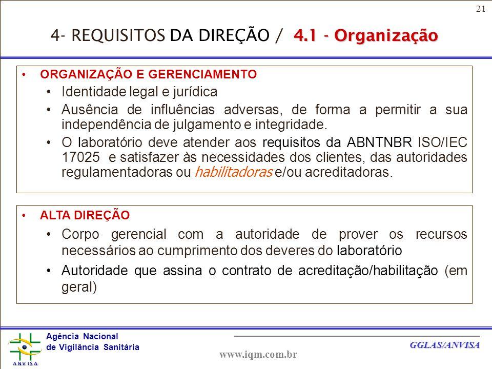 4- REQUISITOS DA DIREÇÃO / 4.1 - Organização