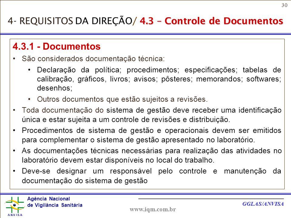 4- REQUISITOS DA DIREÇÃO/ 4.3 – Controle de Documentos