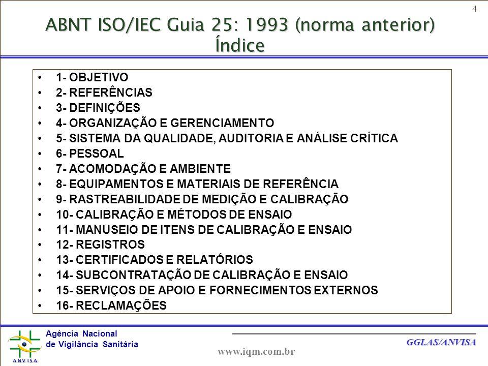 ABNT ISO/IEC Guia 25: 1993 (norma anterior) Índice