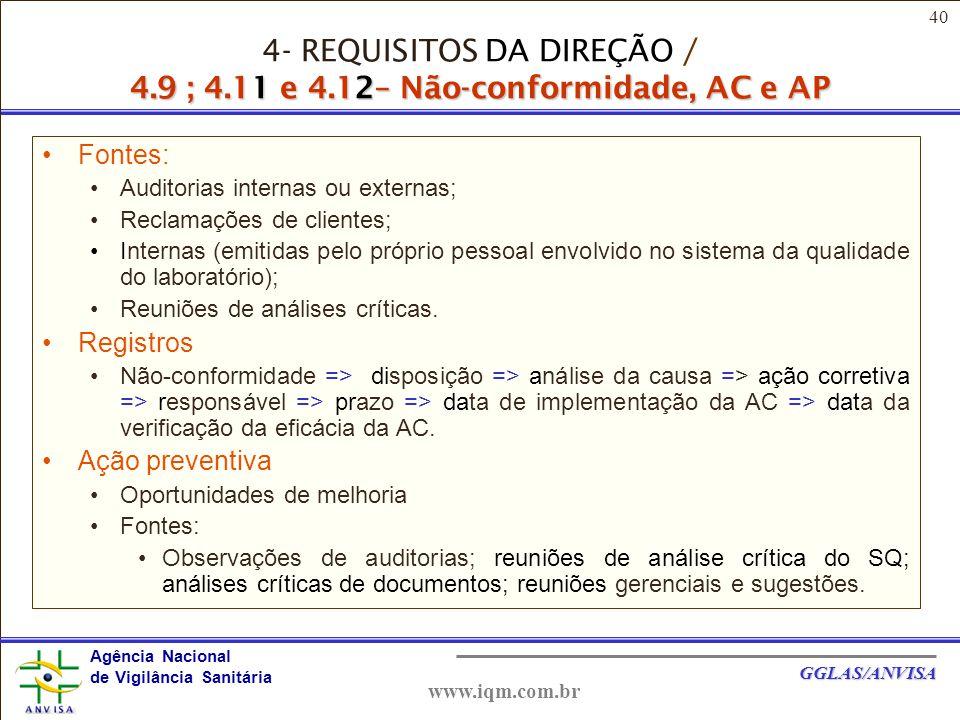 4- REQUISITOS DA DIREÇÃO / 4. 9 ; 4. 11 e 4