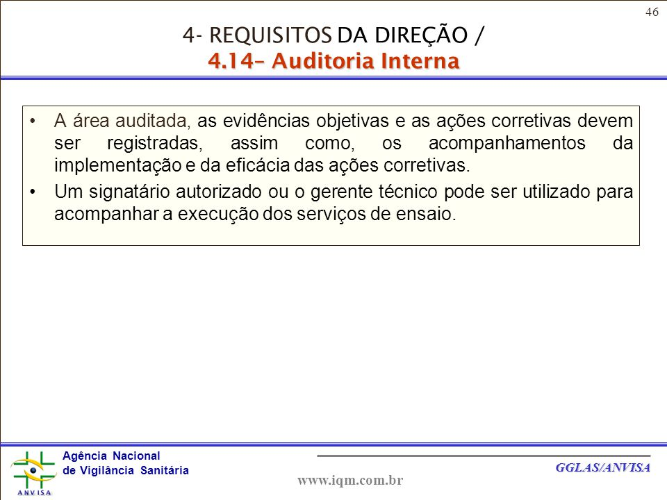 4- REQUISITOS DA DIREÇÃO / 4.14– Auditoria Interna