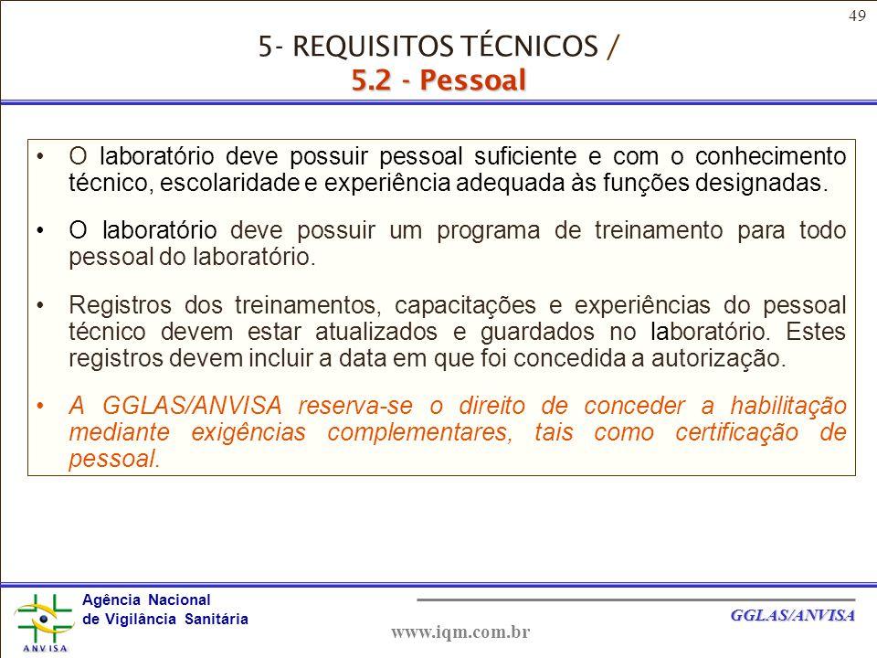 5- REQUISITOS TÉCNICOS / 5.2 - Pessoal