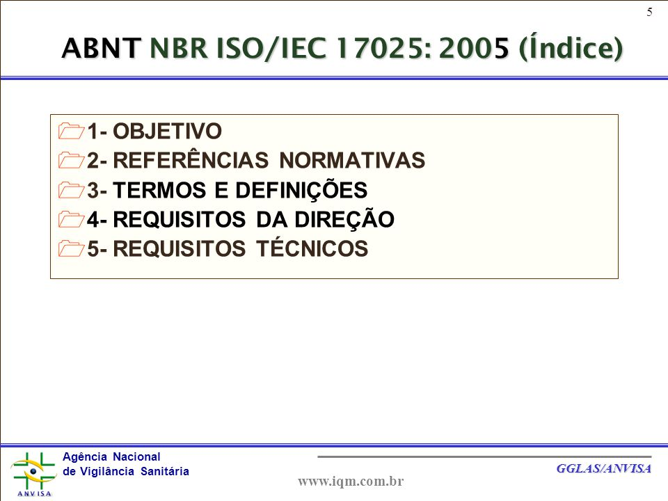 ABNT NBR ISO/IEC 17025: 2005 (Índice)