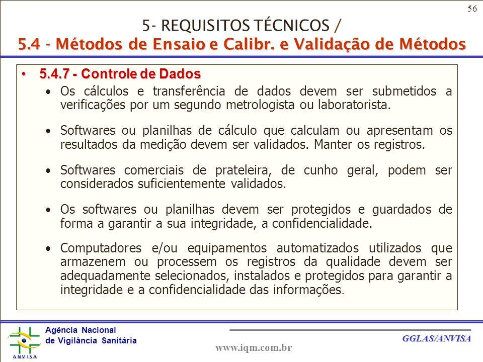 5- REQUISITOS TÉCNICOS / 5. 4 - Métodos de Ensaio e Calibr