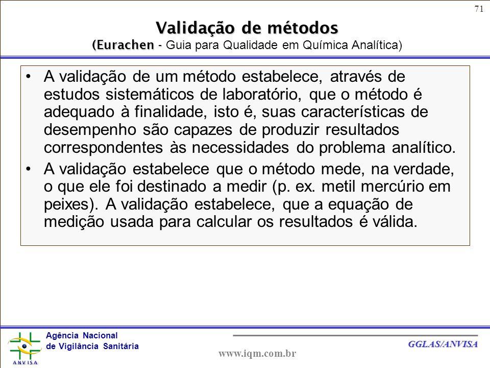 Validação de métodos (Eurachen - Guia para Qualidade em Química Analítica)