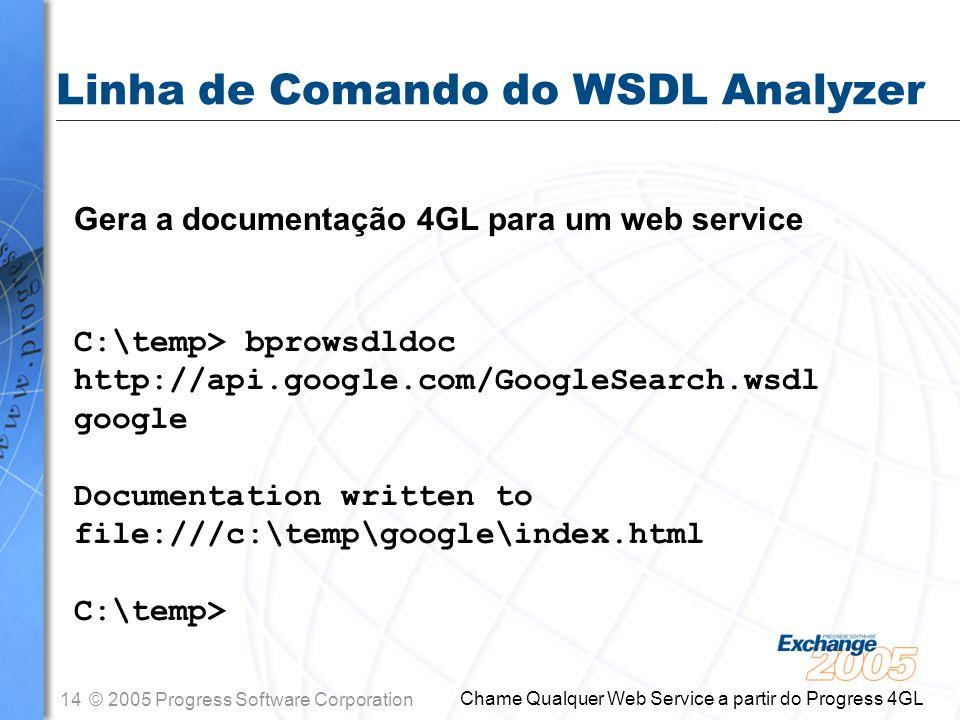 Linha de Comando do WSDL Analyzer