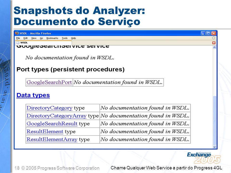Snapshots do Analyzer: Documento do Serviço